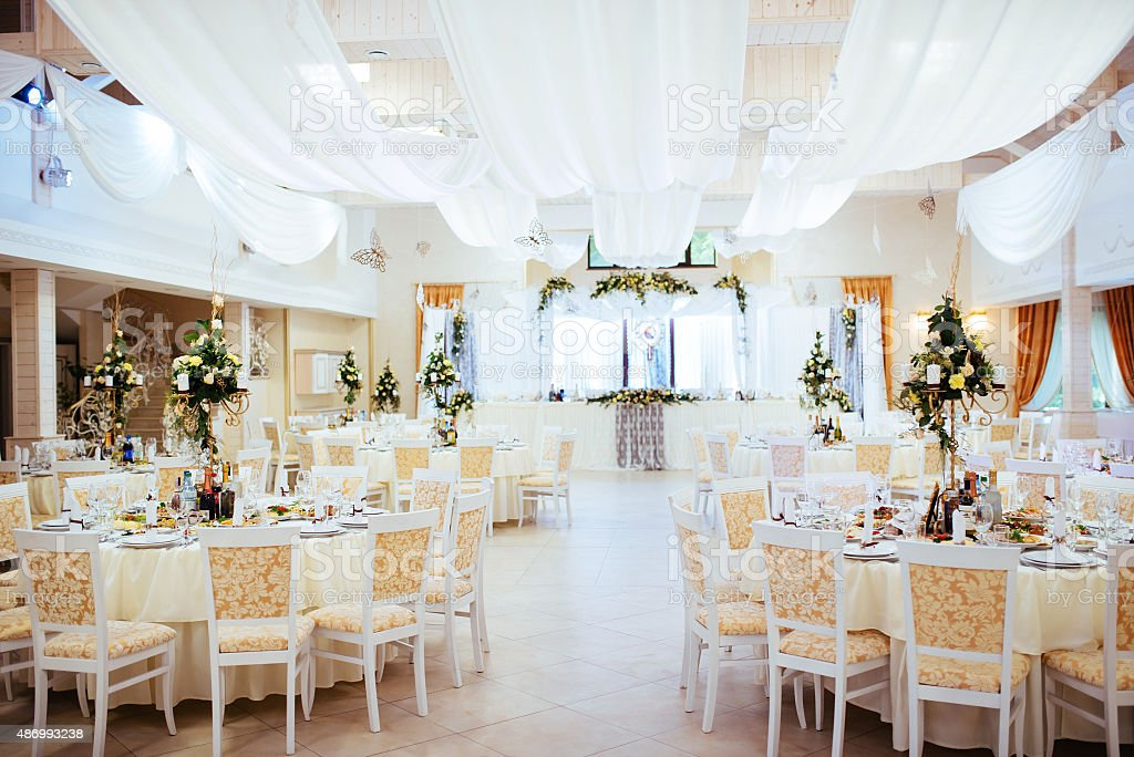 Interior of a wedding tent decoration ready for guests stock photo