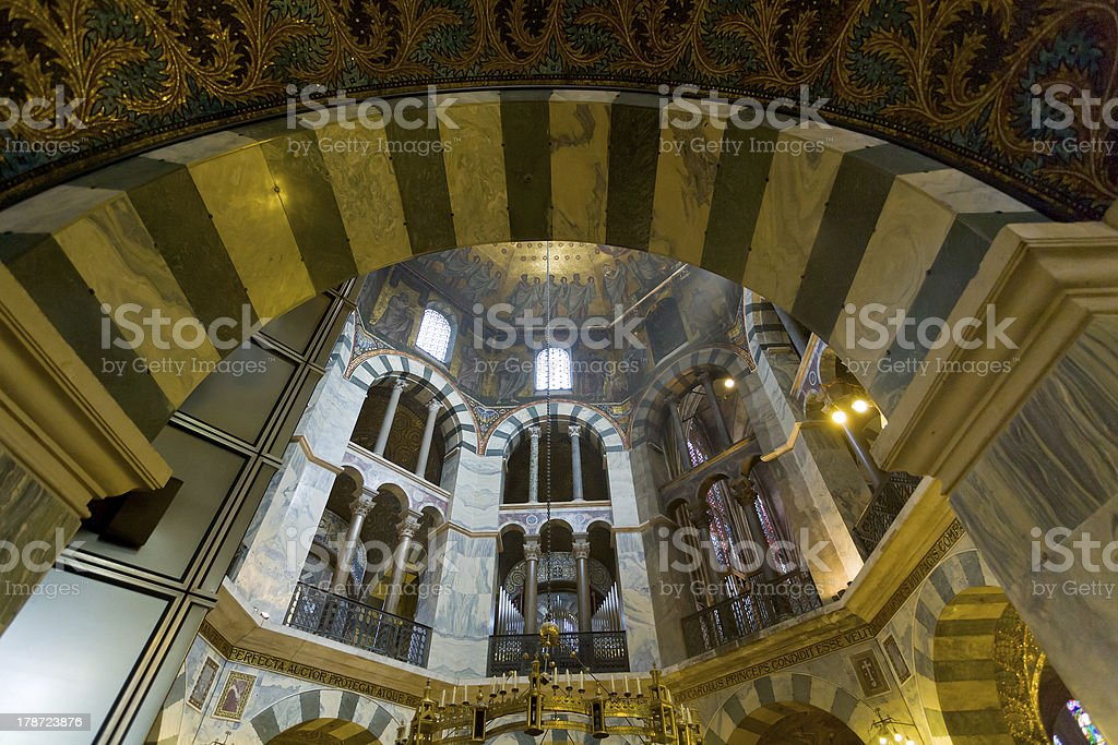 interior of Aachen Cathedral stock photo