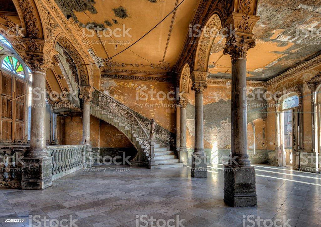 Interior of abandoned ornate Colonial Villa in Havana Cuba stock photo
