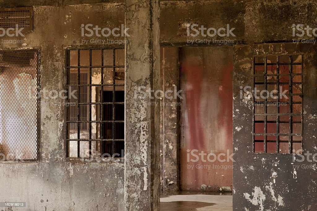 Interior of Abandoned Prison, Grunge royalty-free stock photo