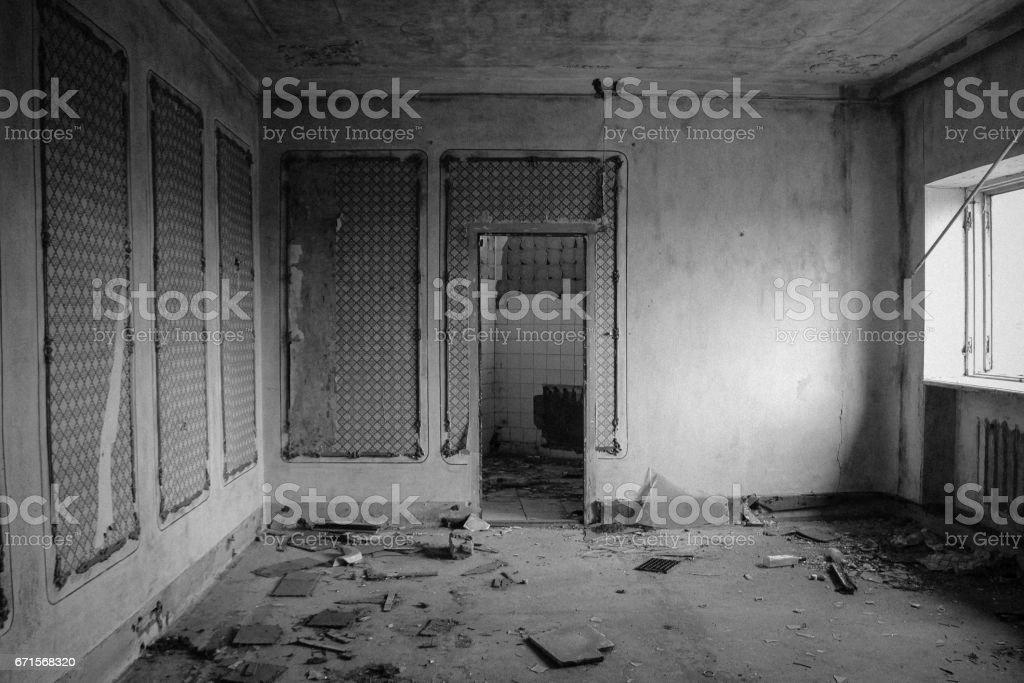 Interior of abandoned restaurant. Black and white tone stock photo