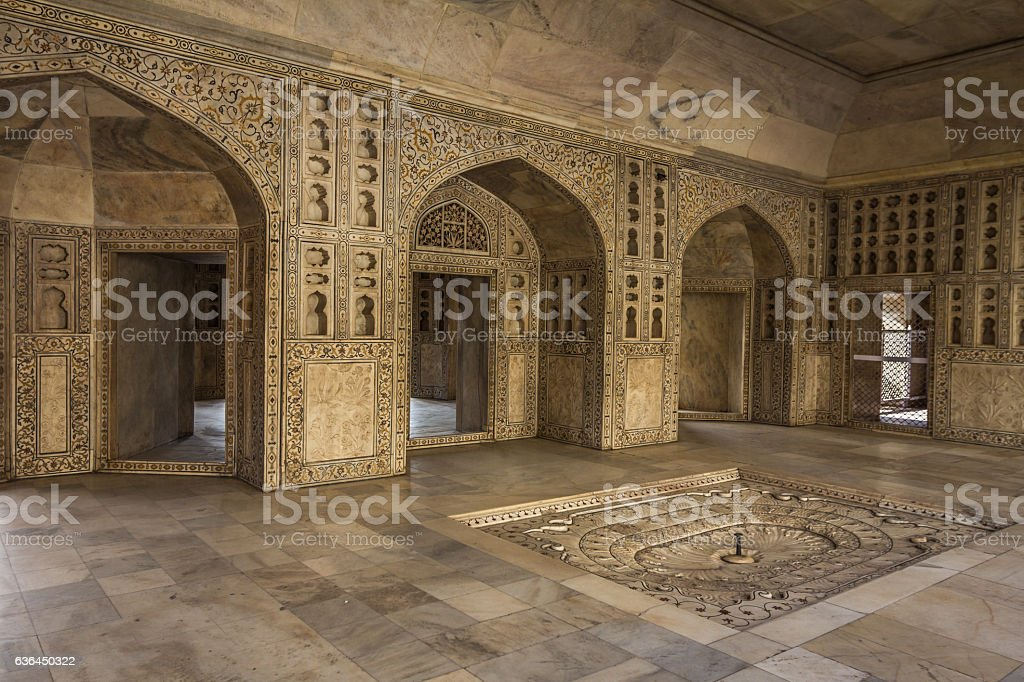 Interior of Agra Fort in India stock photo