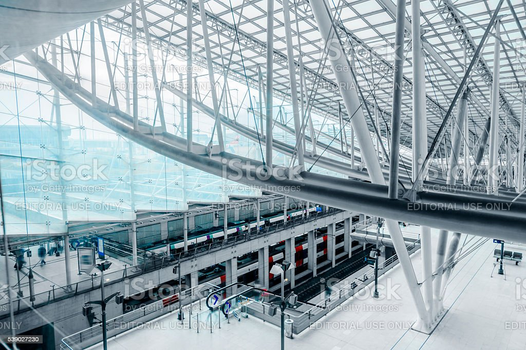interior of airport Charles de Gaulle stock photo