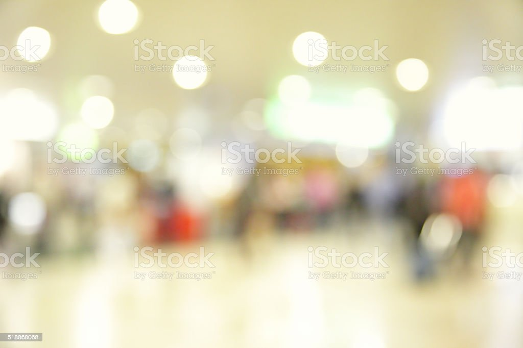 Interior of airport out-of-focus stock photo