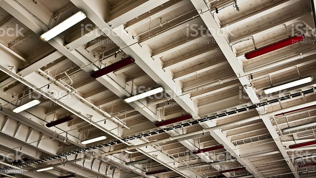 Interior of an Aircraft Carrier stock photo