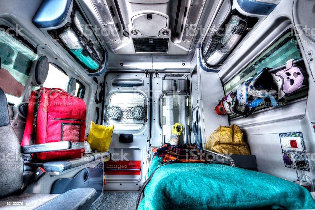 Interior of an ambulance stock photo