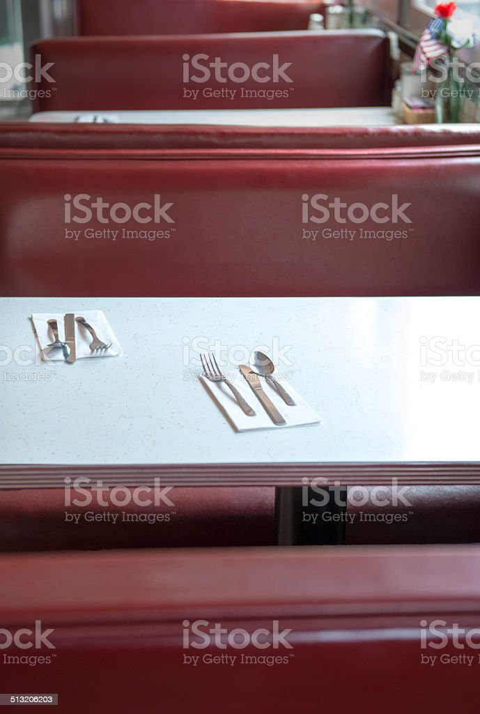 Interior of an American Dinner stock photo