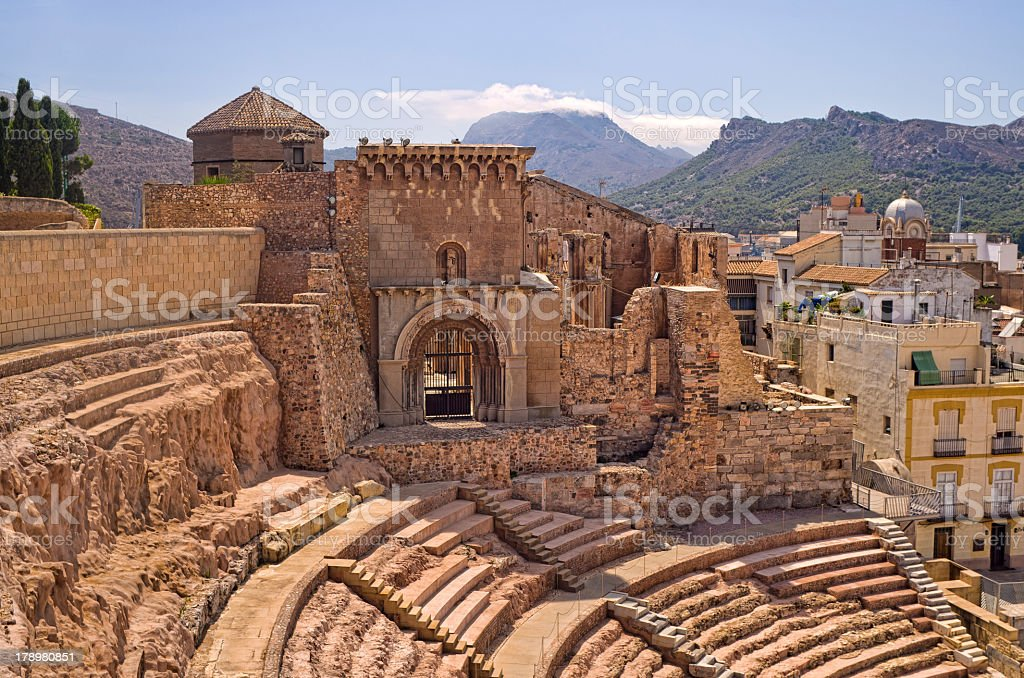 Interior of an ancient Roman Amphitheater stock photo