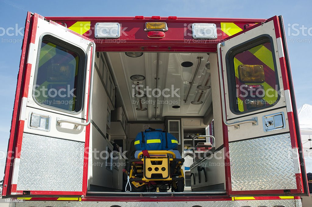 Interior of an Emergency Ambulance stock photo