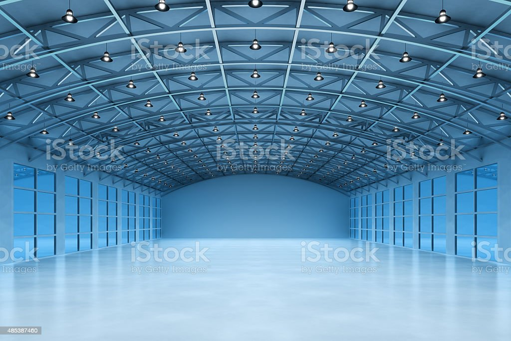 Interior of an empty warehouse building vector art illustration
