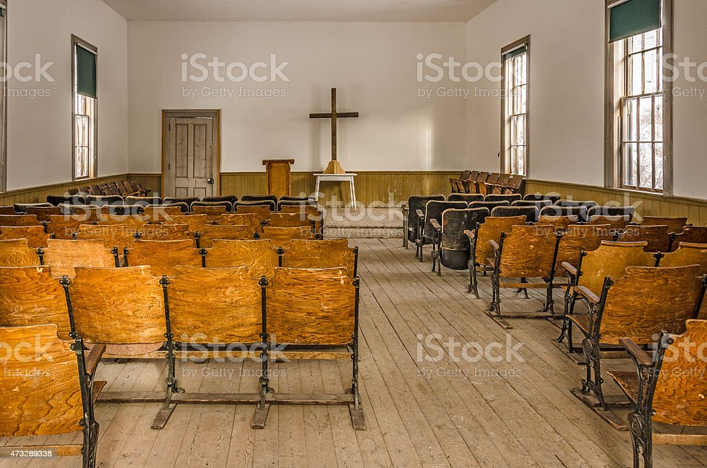 Interior of an Old Church stock photo