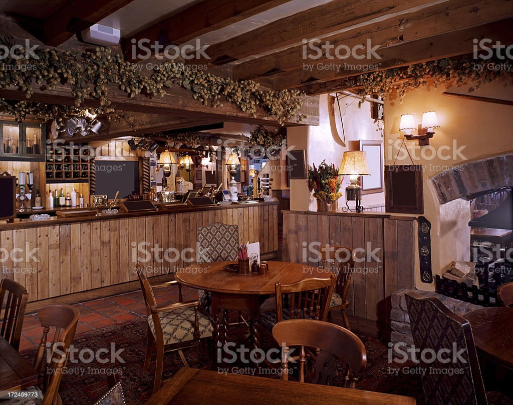 Interior of an old fashioned restaurant stock photo