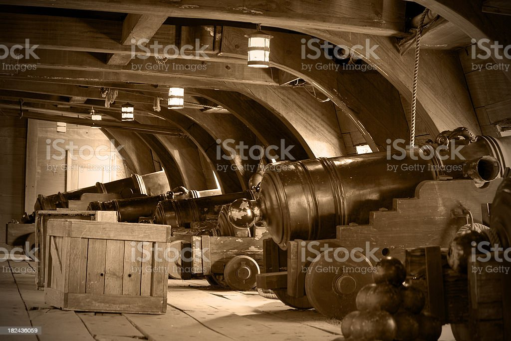 Interior Of An Old Galeon, Sepia Tone stock photo