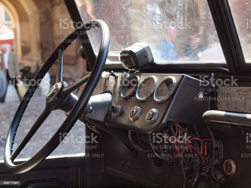 Interior of an old Italian military car stock photo