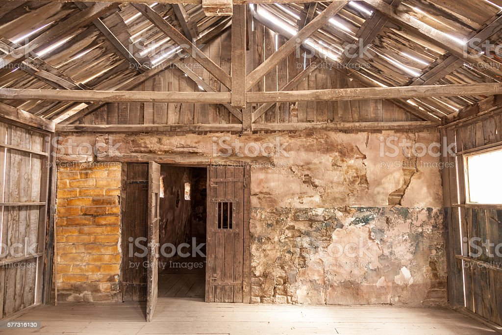 Interior of an old wooden house stock photo