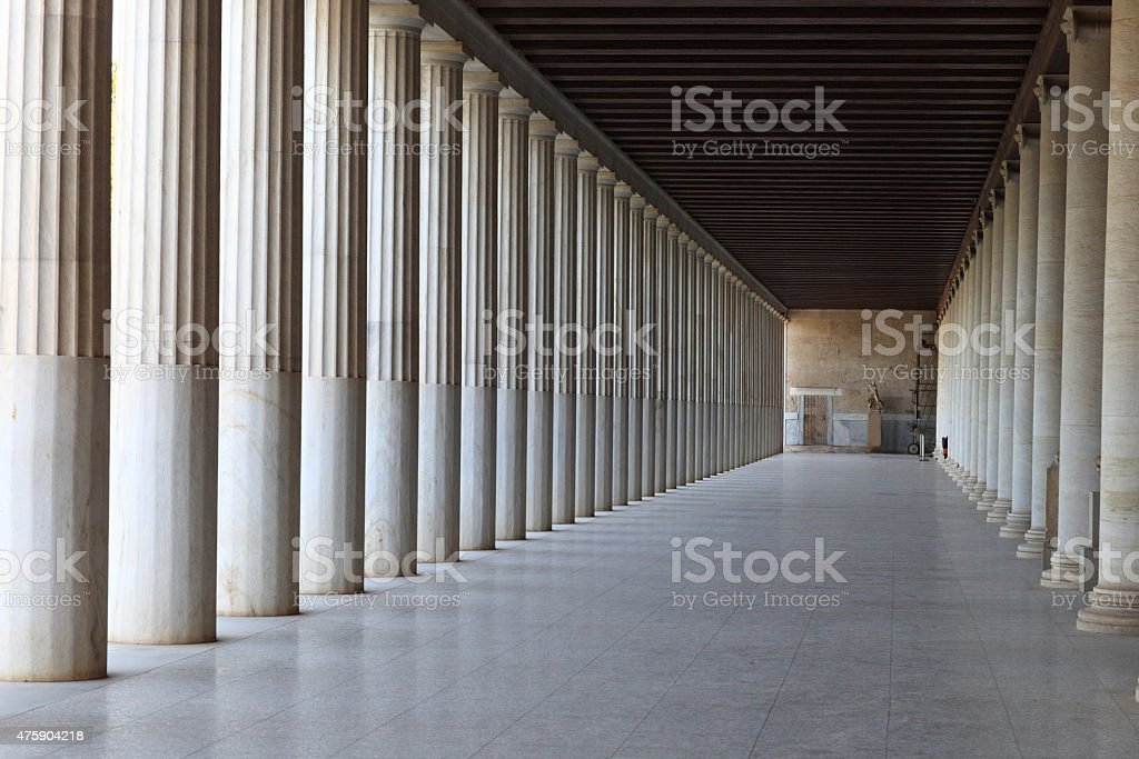 Interior of Ancient Agora stock photo