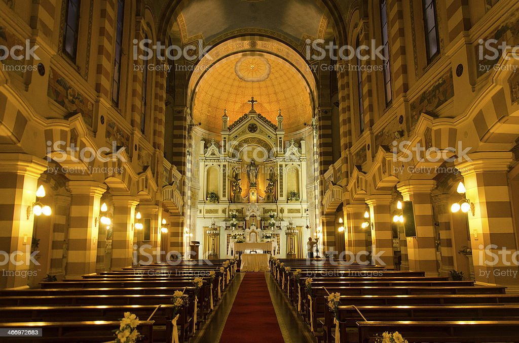 Interior of ancient church stock photo