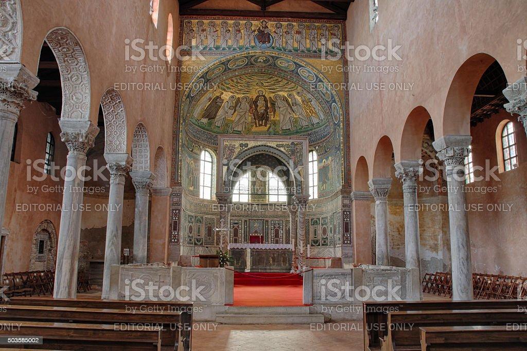 Interior of ancient Euphrasian Basilica in Porec stock photo