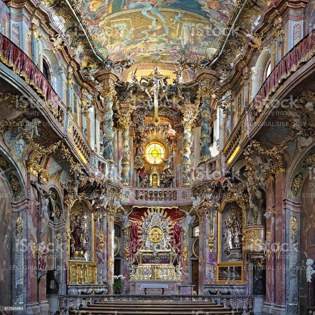 Interior of Asamkirche in Munich, Germany stock photo