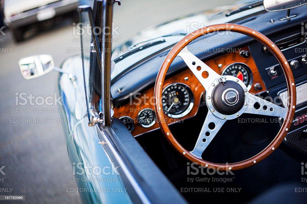 Interior of Austin Healey 3000 MK III stock photo