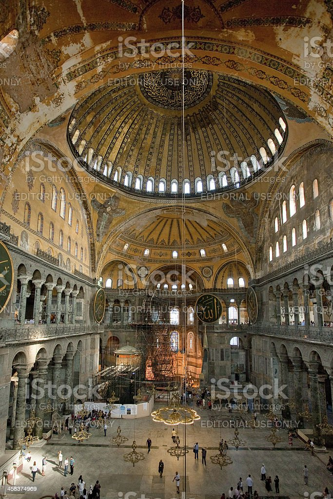 Interior of Aya Sophia - ancient Byzantine basilica royalty-free stock photo