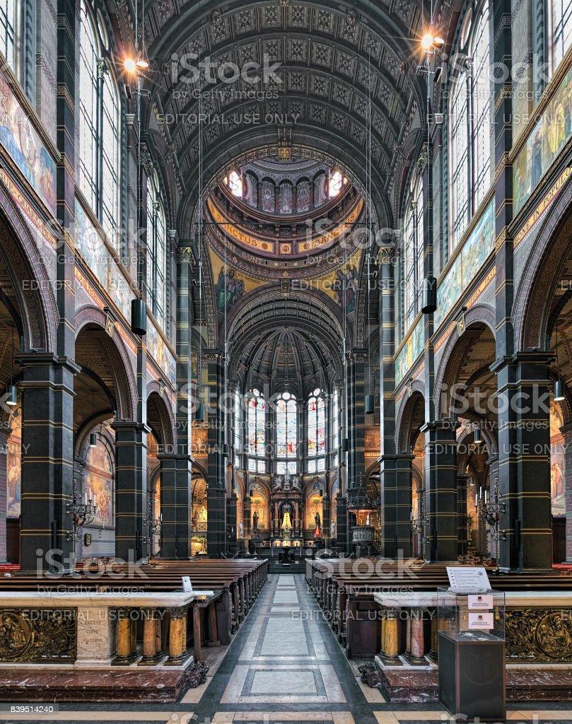 Interior of Basilica of St. Nicholas in Amsterdam, Netherlands stock photo