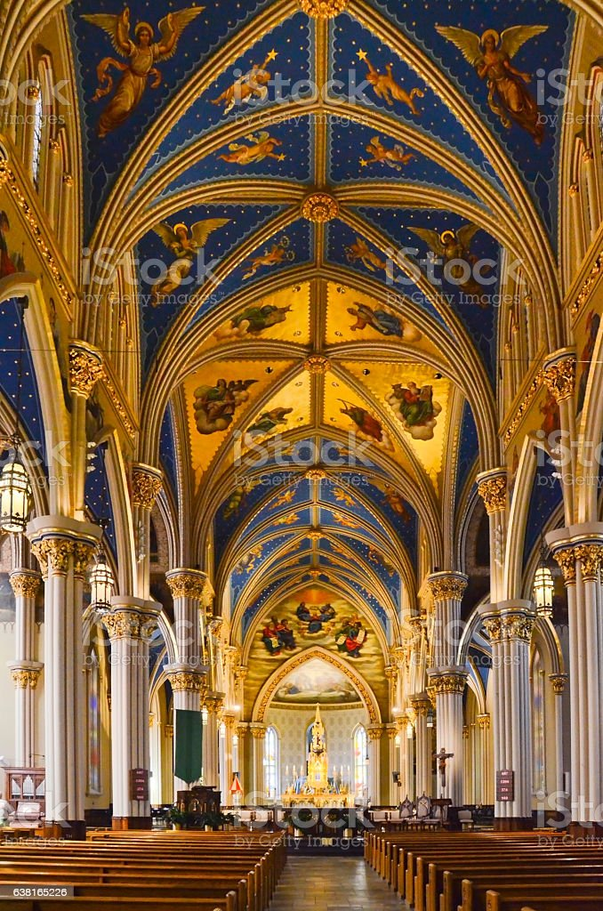 Interior of Basilica of the Sacred Heart at University of stock photo