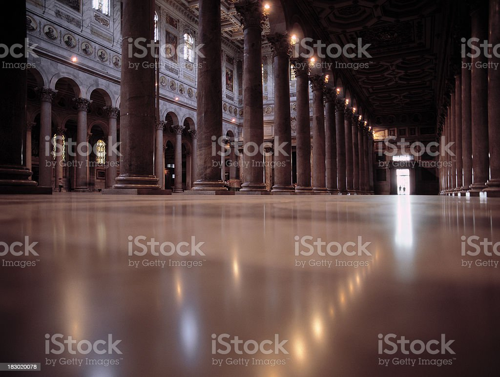Interior of Basilica St. Paul outside the walls. stock photo