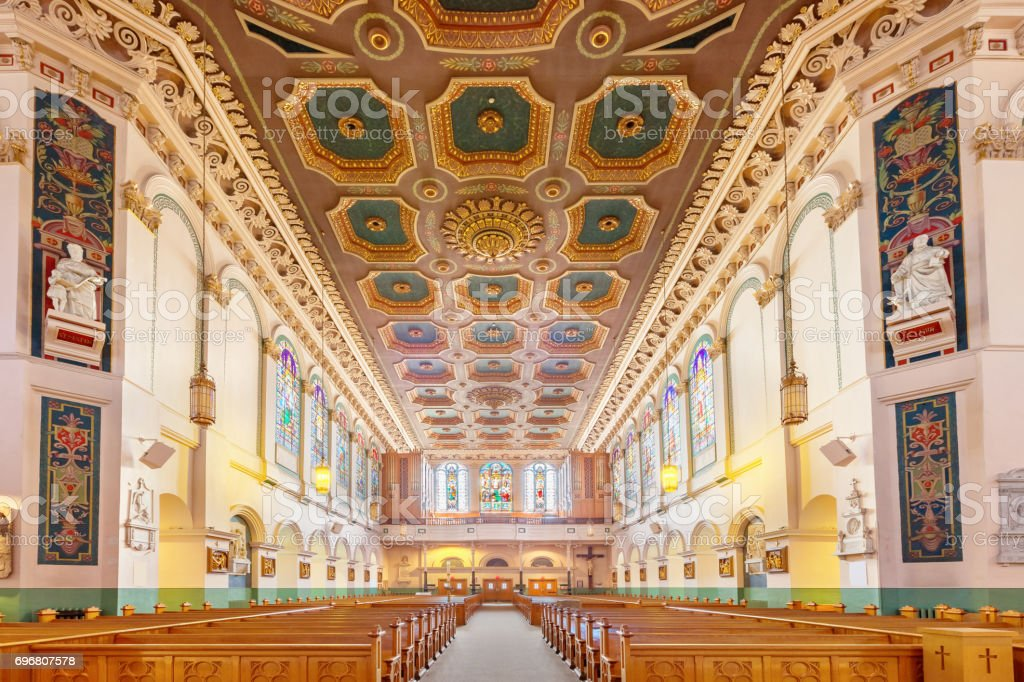 Interior of Basilica-Cathedral of St. John the Baptist in St. John's Newfoundland Canada stock photo