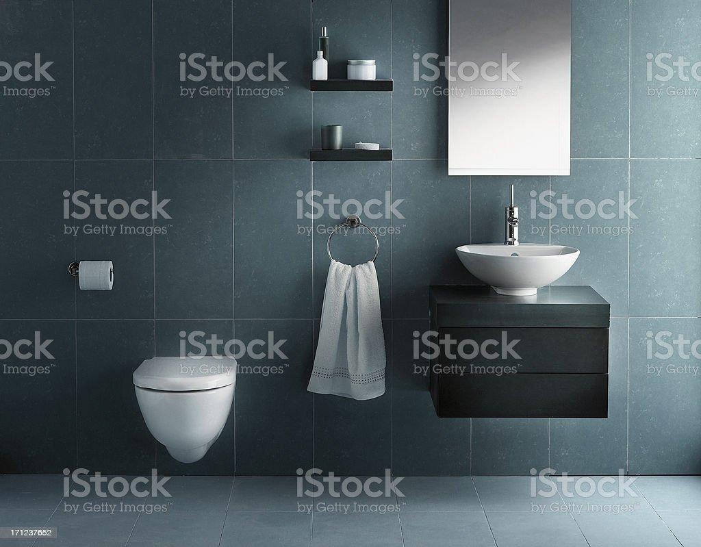 Interior of bathroom in cold tone stock photo