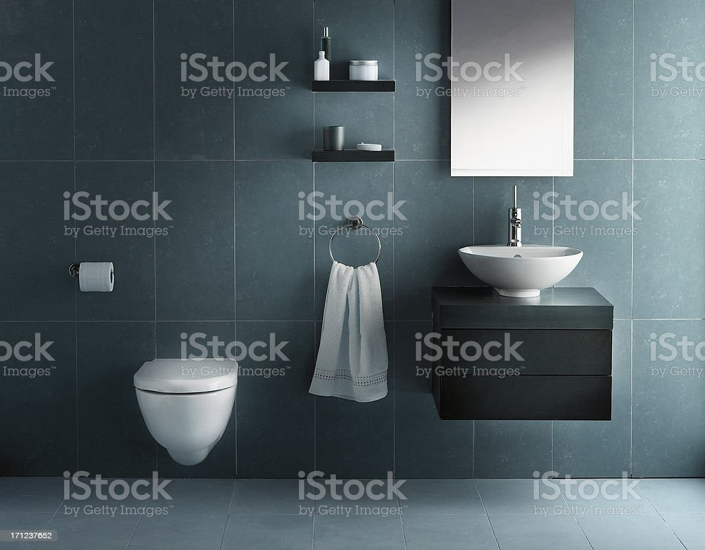 Interior of bathroom in cold tone stock photo