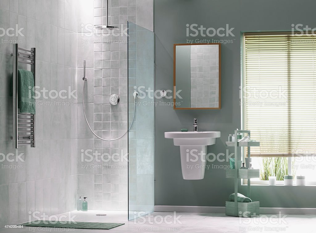 Interior of bathroom in cool green stock photo