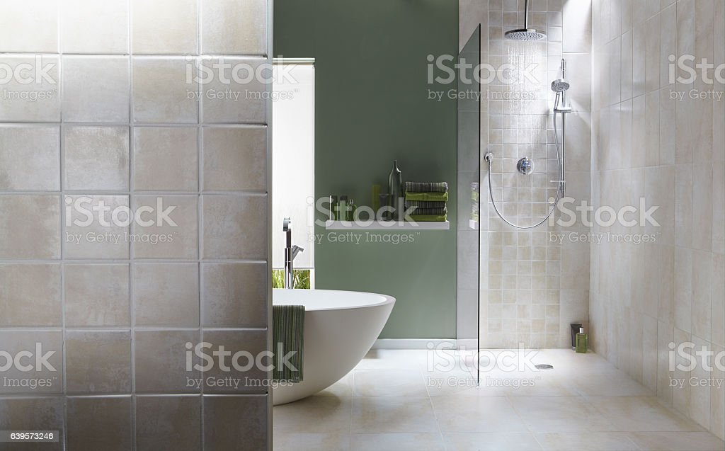 The interior of a simple, modern bathroom in a cool, green tone....