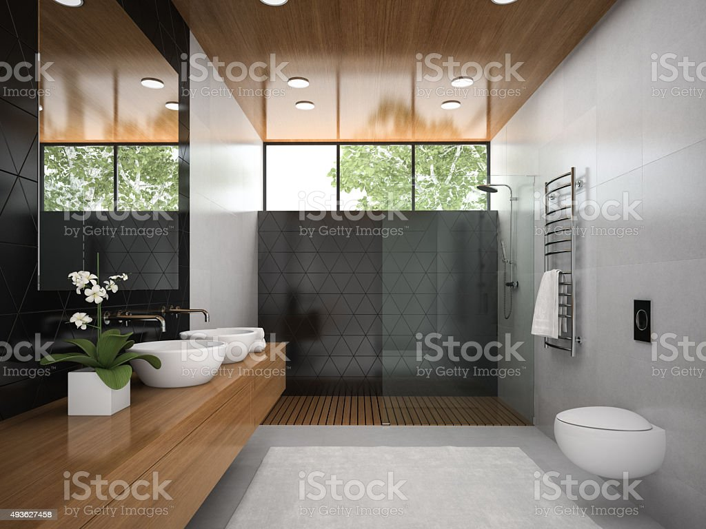 Interior of  bathroom with wooden ceiling 3D rendering 6 stock photo