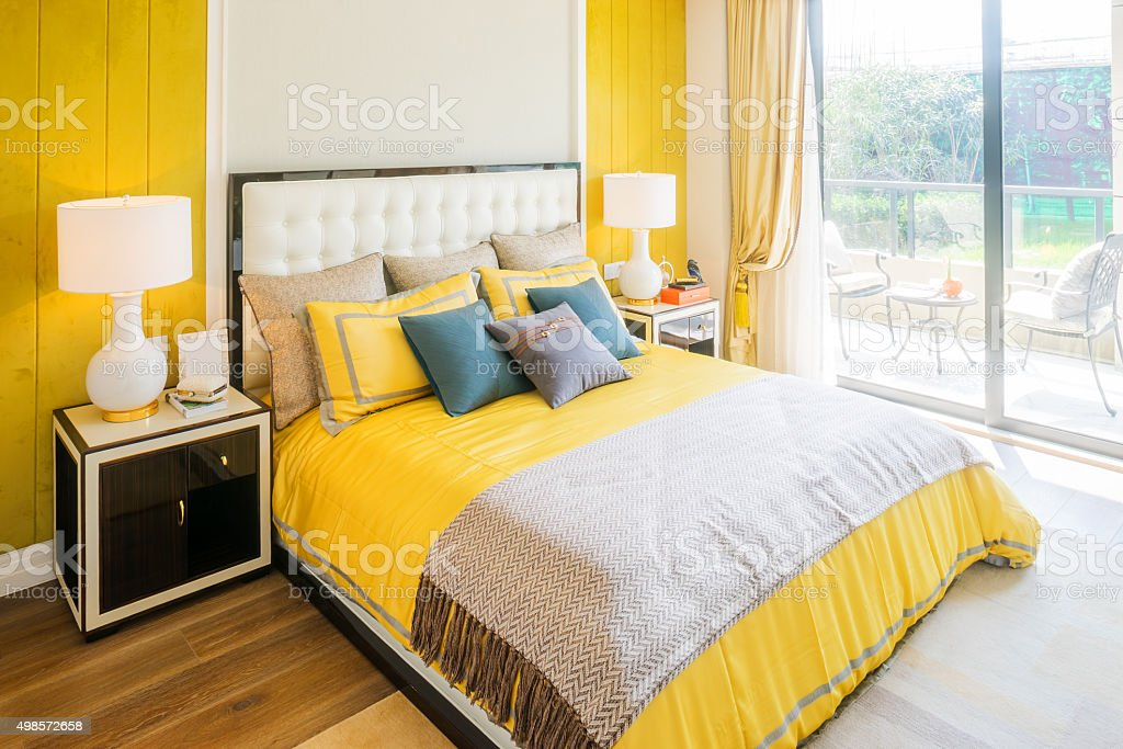 interior of bedroom in modern villa stock photo