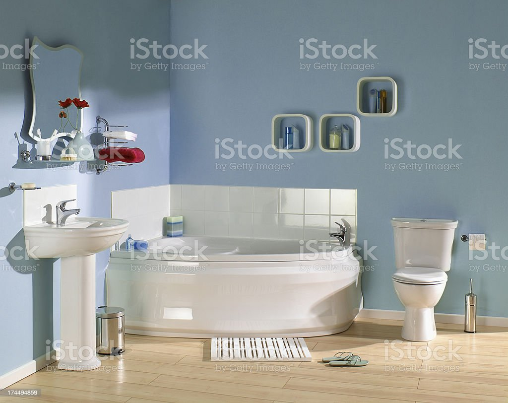 Interior of Blue bathroom stock photo