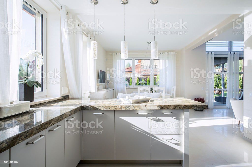 Interior of bright kitchen stock photo