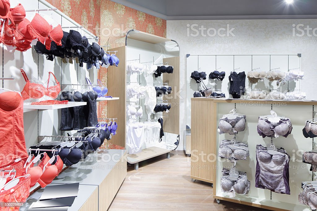 interior of bright underwear shop stock photo