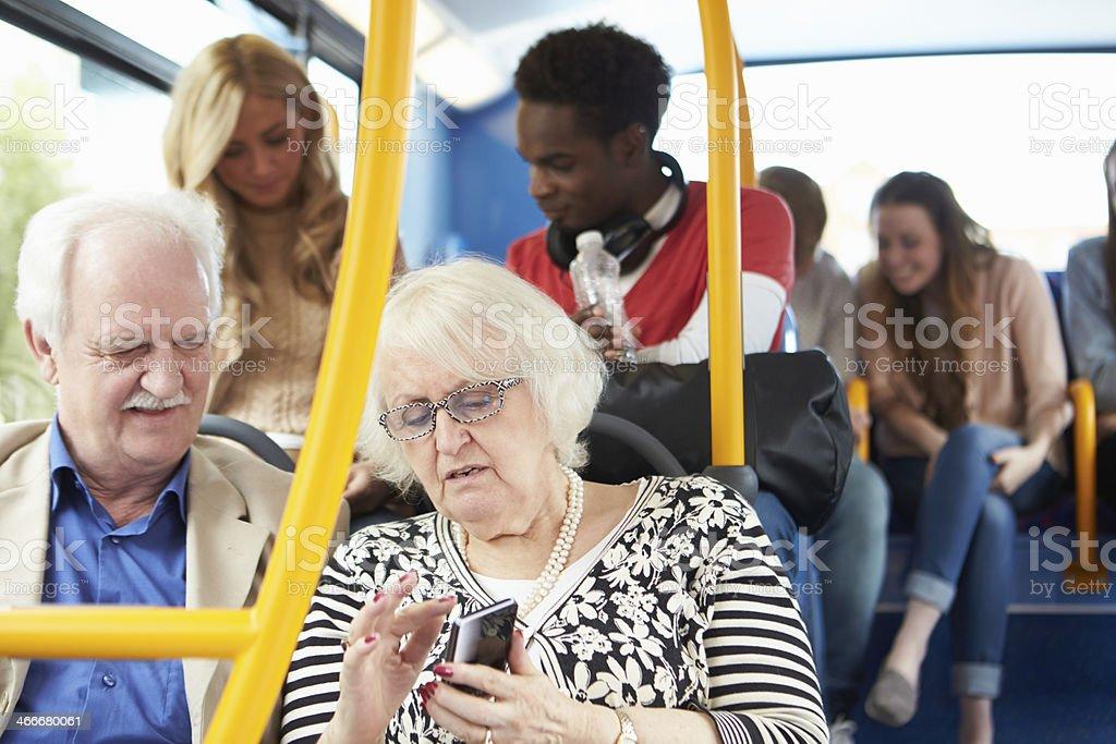 Interior Of Bus With Passengers stock photo