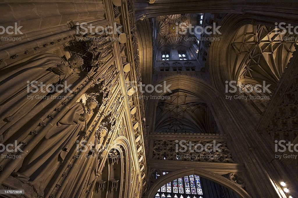 Interior of Canterbury Cathedral stock photo