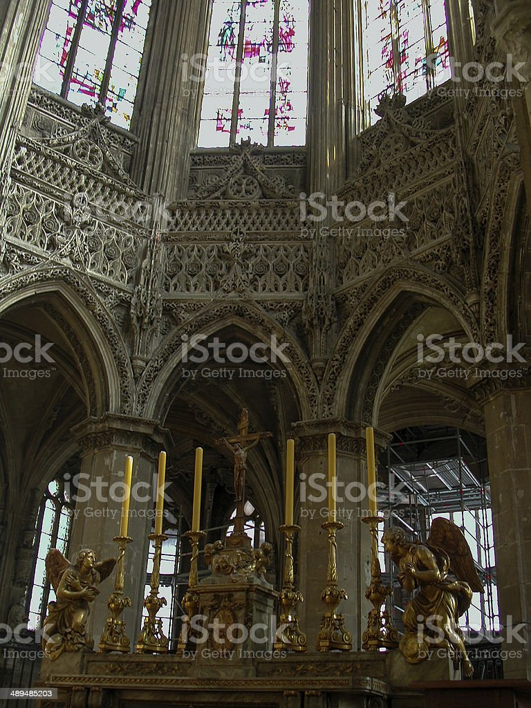 Interior of Cathedral Lausanne Switzerland stock photo