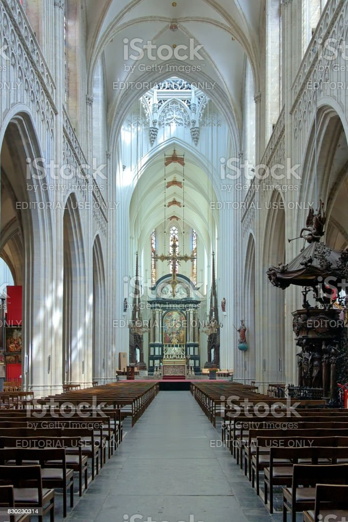 Interior of Cathedral of Our Lady in Antwerp, Belgium stock photo