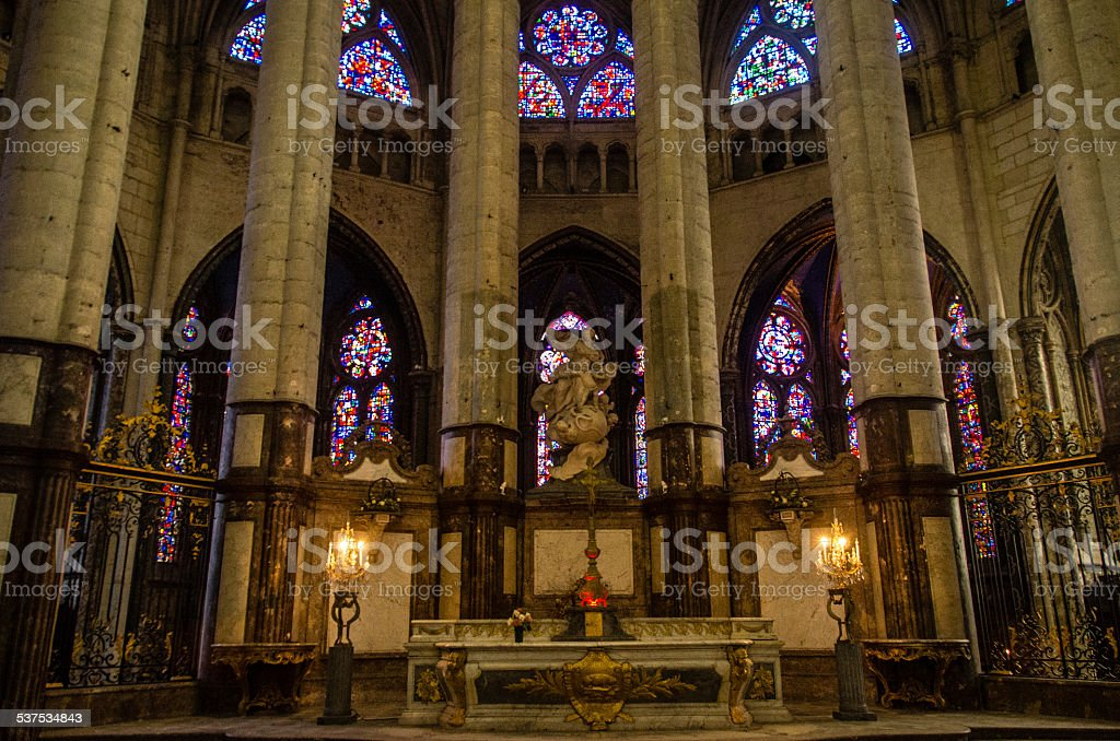 Interior of Cathedral of Saint Peter of Beauvais stock photo