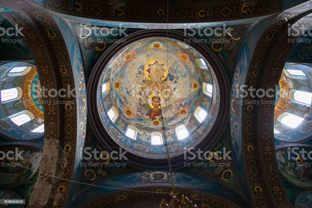 Interior of Cathedral of St. Panteleimon the Great Martyr in the New Athos Monastery. The cathedral, built in 1888-1900, is the largest cult structure of Abkhazia. NEW ATHOS, ABKHAZIA stock photo