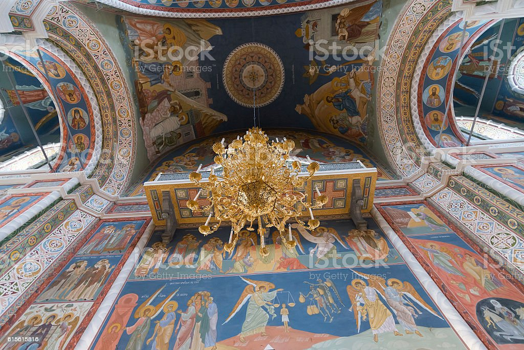 interior of Cathedral  St. Alexander Nevsky in Nizhny Novgorod, Russia stock photo