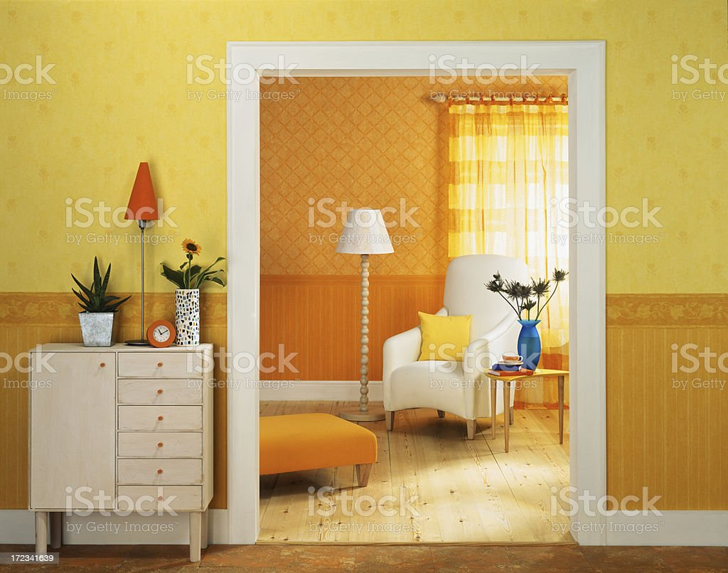 Interior of chair and ornaments in livingroom stock photo