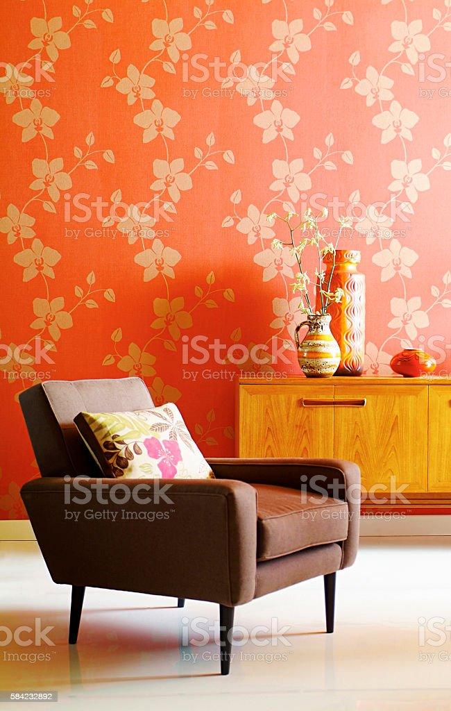 Interior of chair in livingroom stock photo