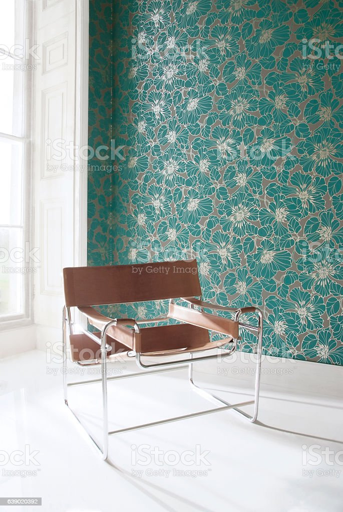 Interior of chair in room stock photo
