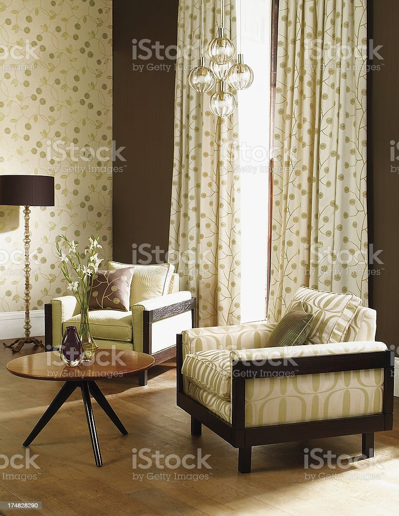 Interior of chairs in a traditional livingroom stock photo