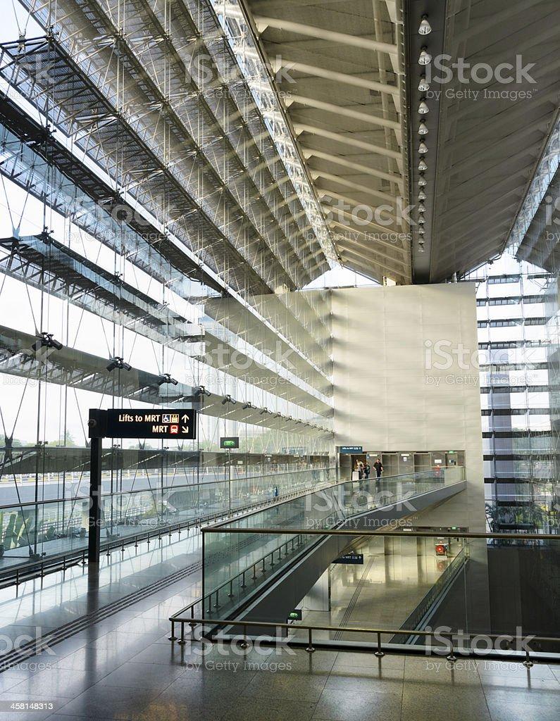 Interior of Changi International Airport stock photo